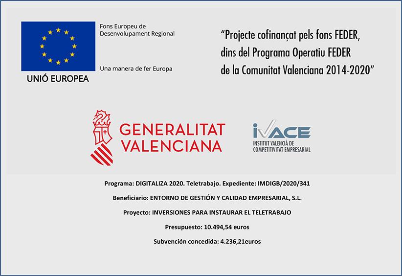 Entorno Empresarial recibe el apoyo de IVACE para la implantación del teletrabajo en sus oficinas